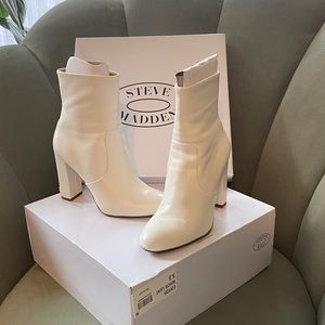 Steve Madden Editor Dress Bootie White Leather 5.5